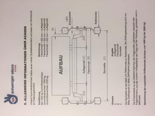 750 kg BWN-Schlegl AM:1000 Gummifeder PKW Anhänger Achse VK60ungebremst AS:100*4