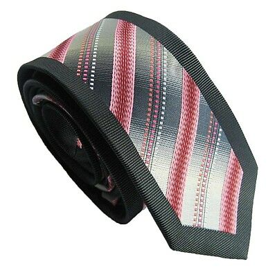 Coachella Ties Silver Gray with Coral Red Stripe Black Border Necktie Skinny Tie