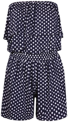 Ladies Polka Dot Boobtube Jumpsuit Womens Strapless Frill Ruffle Playsuit 8-22