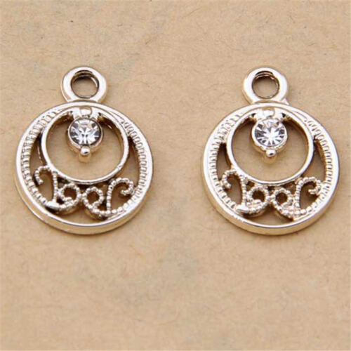 10pc Crystal Flower Pendant Charm Beads Gold GP Accessories Jewelry Making 1119#