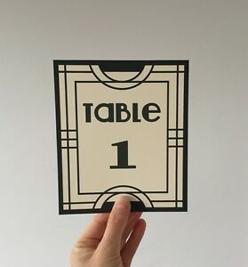 Details About Art Deco Gatsby Wedding Table Numbers Name Cards Party Sign Vintage Design