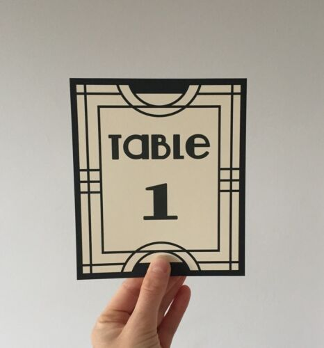 Art Deco Gatsby Wedding Table Numbers Name Cards Party Sign Vintage Design