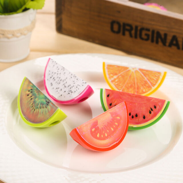 2x Cartoon Plastic Fruit Pencil Sharpener School Stationary Gift For Kids .AU
