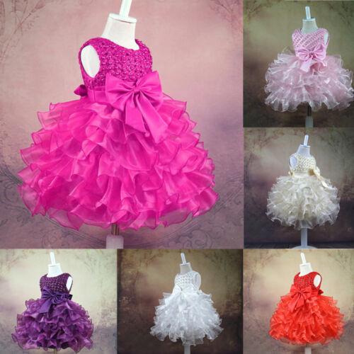 Kid Girl Baby Princess Flower Bow Party Christening Occasion Wedding Dress Tutu