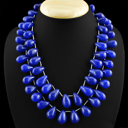 985.00 cts Earth mined 2 Strand Poire Bleu Saphir Perles Collier