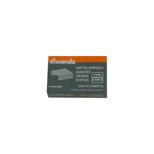 Heftklammern Nr.3 DIN24//6mm DIN26//6 mm Box mit 1000 Stück Viwanda Tackernadeln