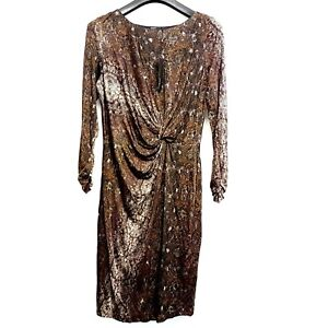 Autograph Wrap Style Dress Midi Long Sleeve Snakeskin Brown Uk Size 16 Ebay
