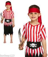 Pirate Boy Kids Fancy Dress Costume Jolly Roger Ship Wreck World Book Week Seas