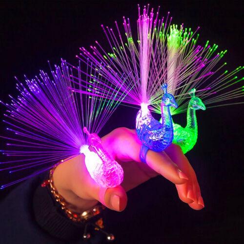 Peacock Light Up Finger Ring Laser LED Glow In Dark Stick Party Favor Kids Toys