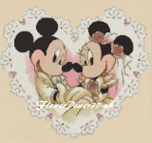 wedding 5 Flowerpower37-uk Cross stitch chart mickey mouse minnie