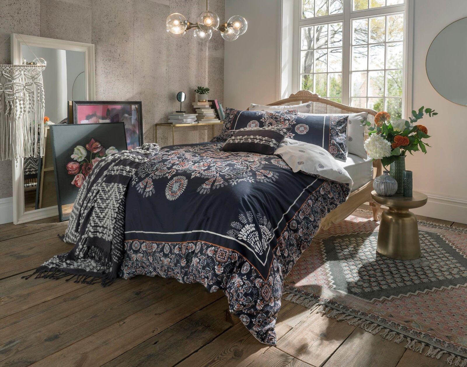 Fat Face Bedding - Ornamental Tile 100% Cotton Navy Duvet Cover Set or Throw