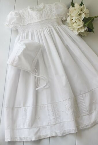 Girls FELTMAN BROS white smocked Christening gown 0-3-6-9-12 NWT dress bonnet