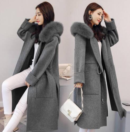 Coat Zipper Sz Hooded Vinterjakker uld Kvinders Trench Fur Plus Collar Cashmere nTZxCwqY