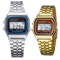 Classic Retro Style Unisex Digital LCD Display Metal Wrist Watch Vintage Style