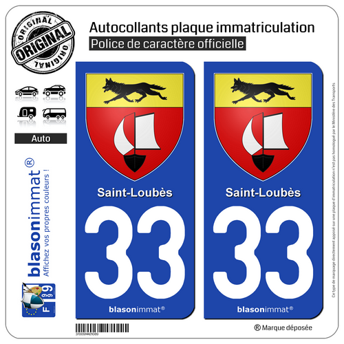 2 Autocollant Plaque D'immatriculation | 33 Saint-loubès - Armoiries | 33450