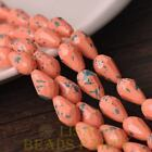 New 15pcs 12X8mm Teardrop Faceted Dots Loose Glass Spacer Beads Peach Pink