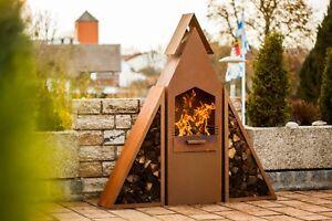 Grill-Kaminofen-Holzlege-Feuerstelle-Pyramidengrill-Terrassenofen-Edelrost