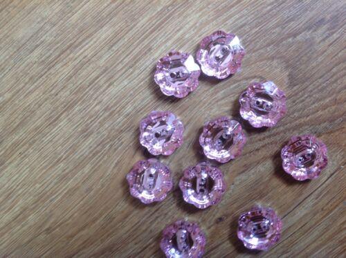 Pink flower buttons x 10-17 mm