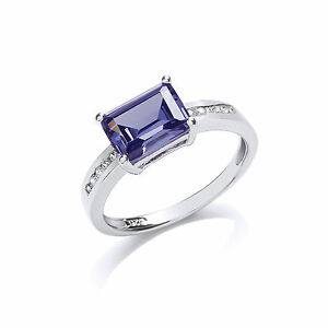 Sapphire Ring Sapphire Engagement Ring Sterling Silver Platinum Plated