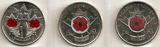"""2004-2008-2010  25 CENT CANADIAN/CANADA COINS ALL UNC """"POPPY"""" COINS"""