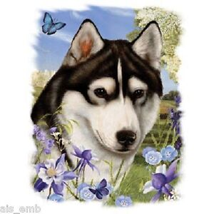 Siberian Husky Dog Floral Heat Press Transfer For T Shirt Tote