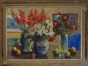 Impressionist-Johan-Jacobsen-1883-Stillleben-Sommerstrauss-Interieur
