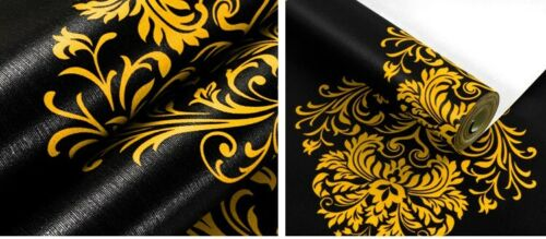 High Grade Black Gold red Luxury Embossed Texture Metallic 3D Damask wallpaper
