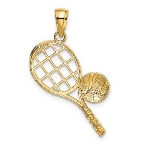 Details about  /14K Yellow Gold Polished /& Diamond Cut Sports Theme Ball w// Tennis Racket Charm