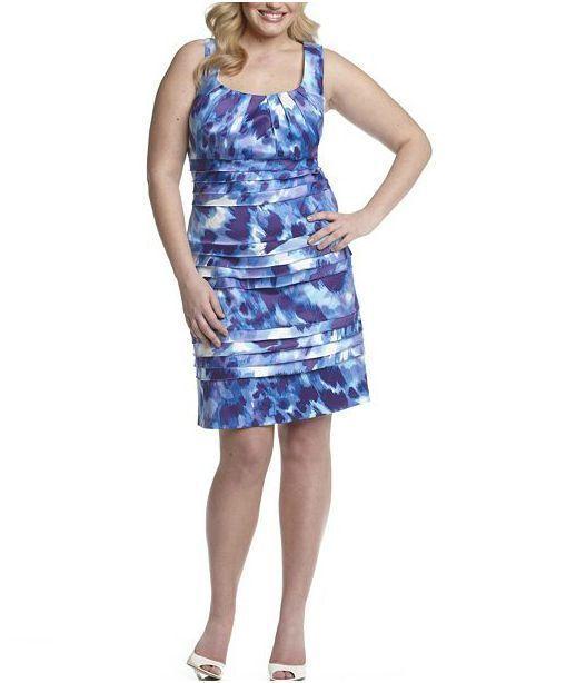 56e40feb NWT- SL Fashions 18W Brushstroke Print Shutter Pleat Plus Größe Dress 18W  NEW