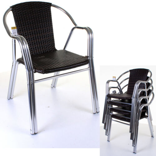 Heavy Duty Aluminium Bistro Chairs Lightweight Double Frame Restaurant Cafe Seat