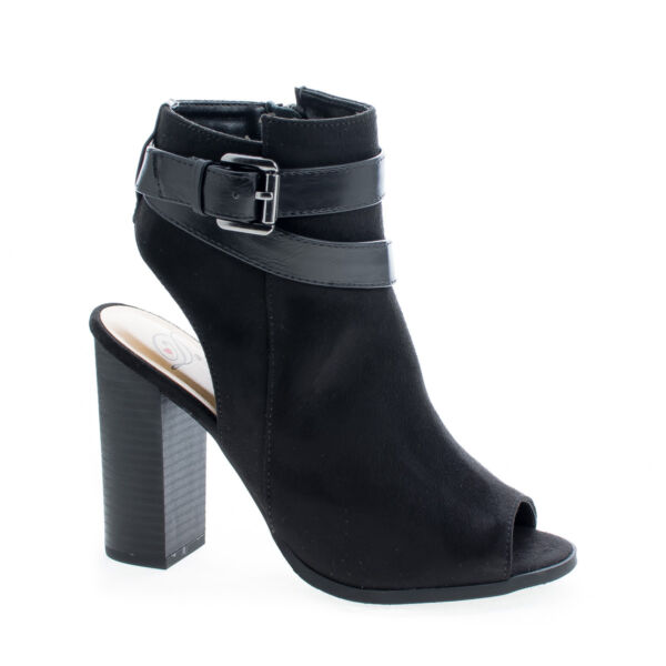 e426b181e56a Bonfire Peep Toe Ankle Buckle High Stacked Heel Booties. Hover to zoom