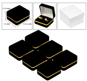 Details About 6 Double Ring Black Velvet Jewelry Gift Boxes Ring Gift Boxes Ring Jewelry Boxes
