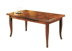 Detalles de Mesa rectangular incrustada, mesa extensible de comedor, mesa  clásica de madera