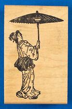 Rare Japanese Woman in Kimono Rubber Stamp Repeat Impressions - Geisha, Parasol