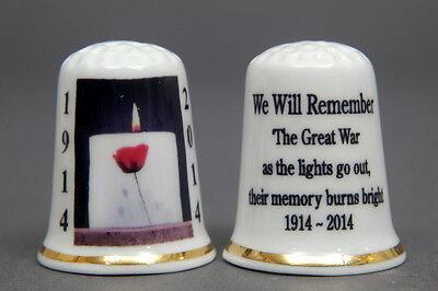 WW1 Centenary /'We Will Remember/' 1918-2018 China Thimble B//182