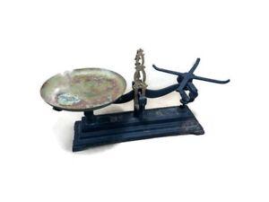 Antique-Vintage-Roberval-Balance-Scale-cast-iron-No-3-Brass-Plate-Black-Gold