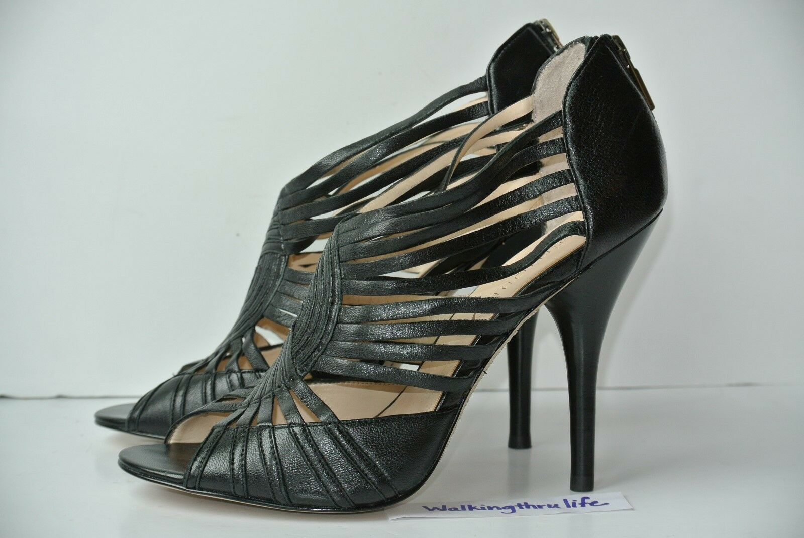 Boutique 9 9 Jayleen Womens Sz 9 Boutique M Black Leather Strappy Heels Stiletto NICE!! 3e55ed
