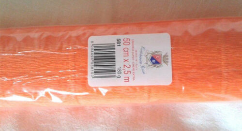 2.5X0.5m 180gr Crepe Craft Paper Roll Halloween Party Italy orange Stretch #581