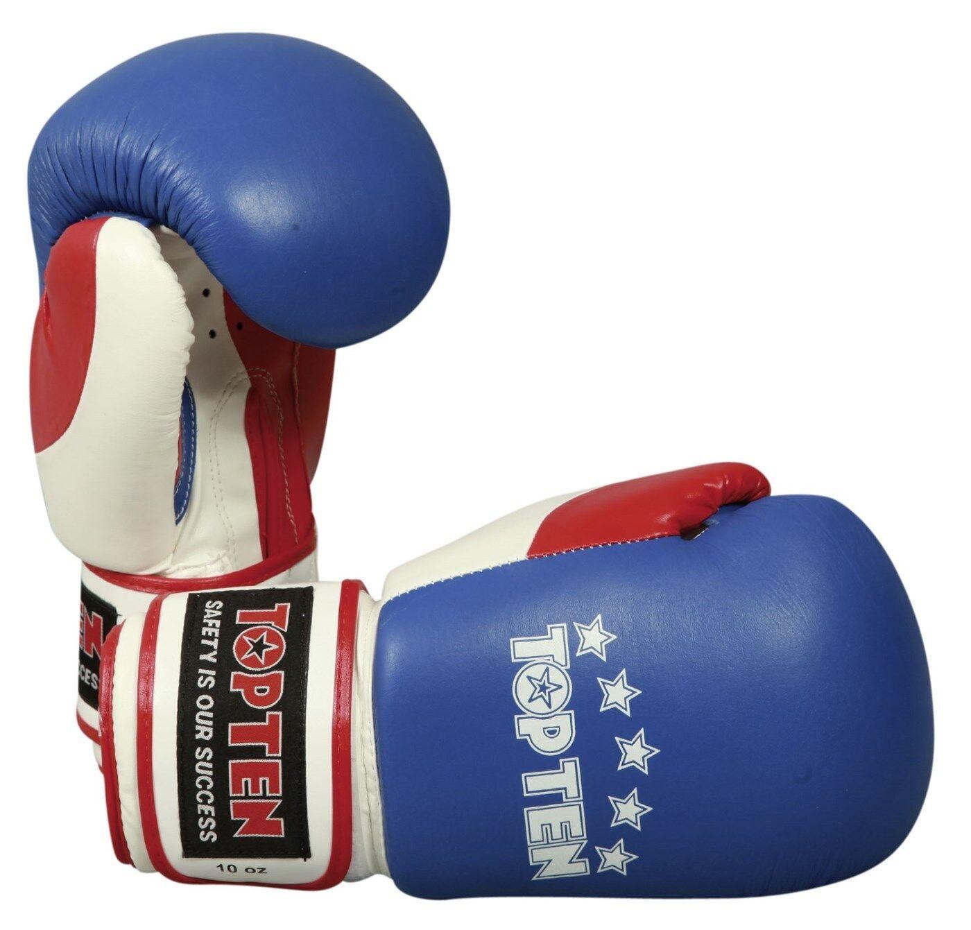 Boxhandschuh TOP TEN  FIGHT  10 Oz. blau rot weiß.  TriFarbe . Boxen. Kickboxen.