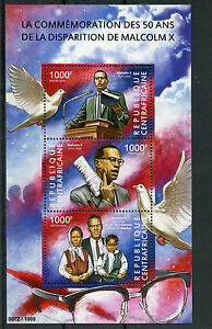 Central-African-Republic-2015-MNH-Malcolm-X-50th-Memorial-Anniversary-3v-M-S