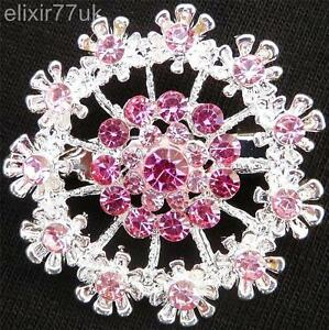 "Gran 2,7 /""Plata Ramo De Flores Broche Diamante Cristal Broche Regalo De Bodas del Reino Unido"