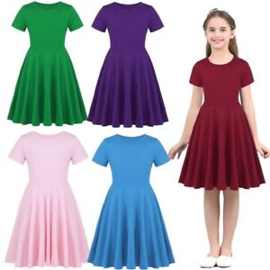 Girls-Cotton-High-Waisted-Twirly-Skater-Dress-Toddler-Kids-Casual-Party-Dresses