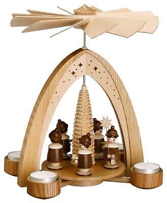 Lumino da tè Piramide Natura con kurrende naturale 28 cm piramide NUOVO Seiffen Natale