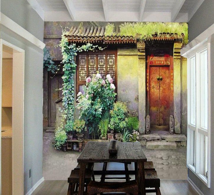3D Front Door Plants 01 Paper Wall Print Wall Decal Wall Deco Indoor Murals
