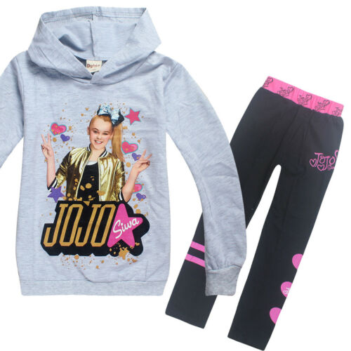 2pcs Kids Girls Hoodies Cartoon Sweatshirts Pants Hooded Outfits