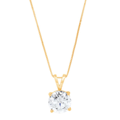 """2 ct Round White Sapphire Solitaire Pendant Necklace 16/"""" chain 14k Yellow gold"""