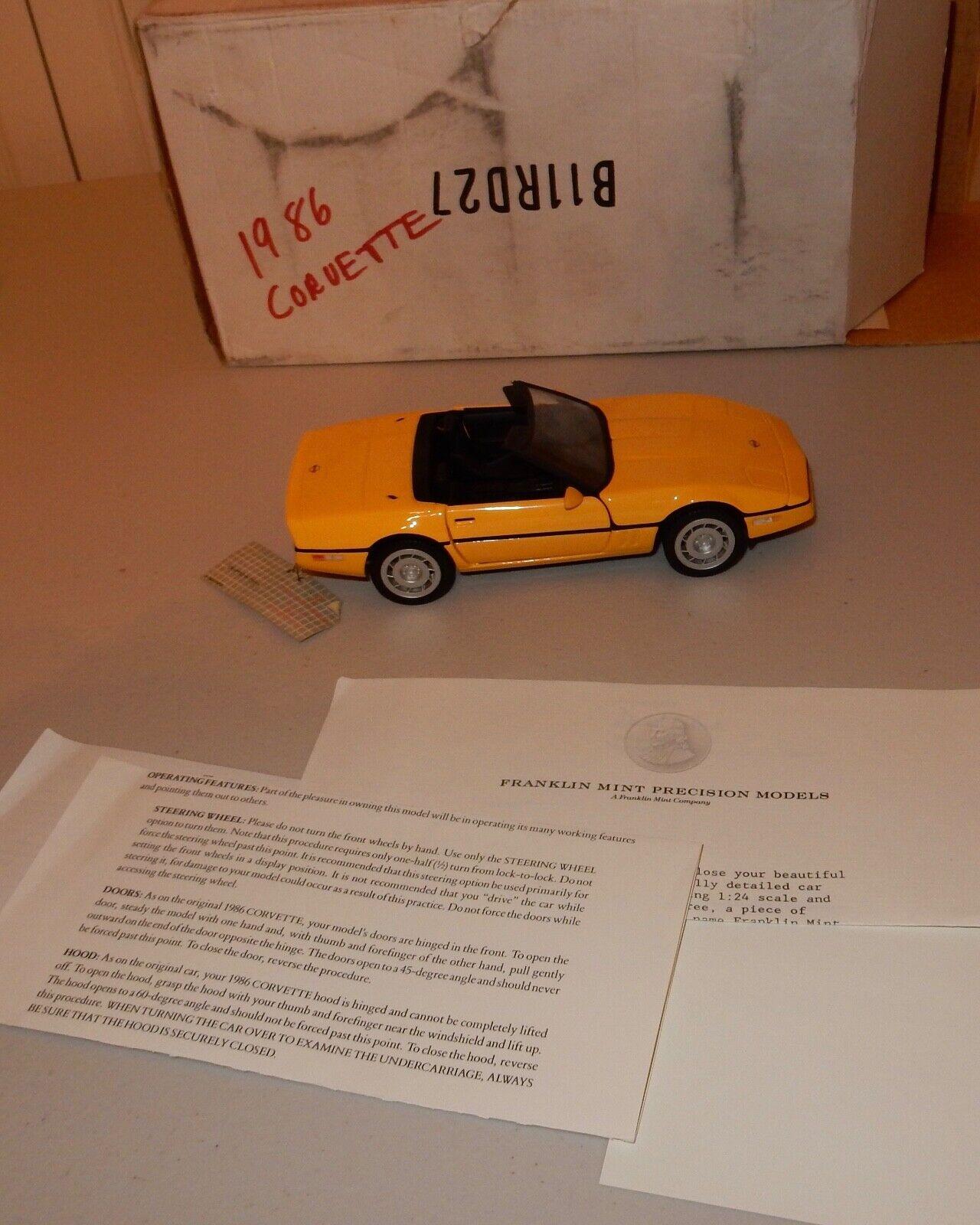 Franklin Mint 1986 Gelb Chevrolet Corvette ConGrünible Undisplayed