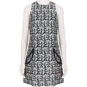 Christopher Kane Nude Grey Plasma Jacquard Petal Pocket Shift Dress UK10 IT42