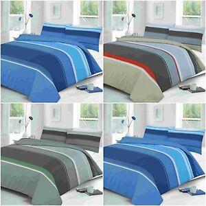 Carter Linear Stripe Blue Chocolate Grey Duvet Quilt Cover Beding Pillowcase Set Ebay