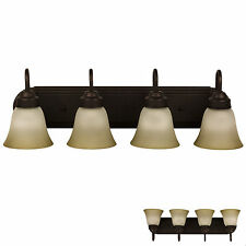 Oil Rubbed Bronze Four Globe Bathroom Vanity Light Bar Fixture, Frosted Glass